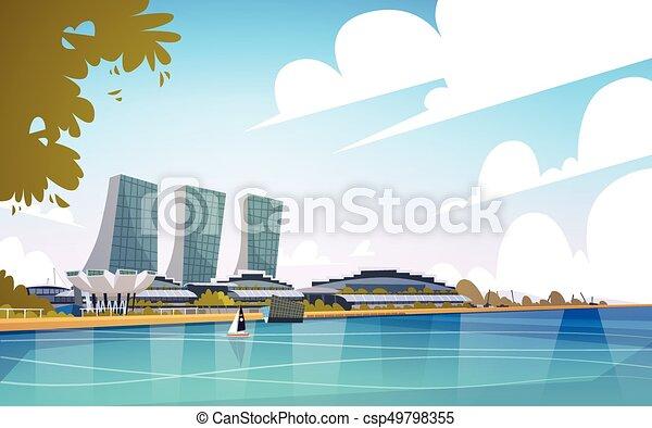 La ciudad de Singapur ve rascacielos, fondo de rascacielos, paisaje urbano - csp49798355