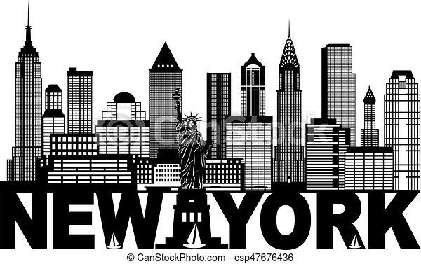 El horizonte de Nueva York y la ilustración en blanco y negro - csp47676436