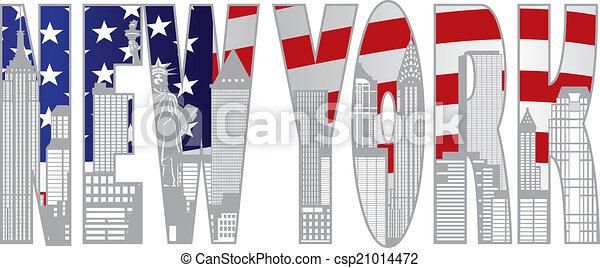 New York City Skyline Tex ooutline ilustration - csp21014472