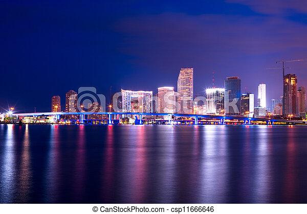 Skyline de la ciudad detrás del acceso a instalaciones portuarias, en el centro, Miami, Florida, Estados Unidos - csp11666646