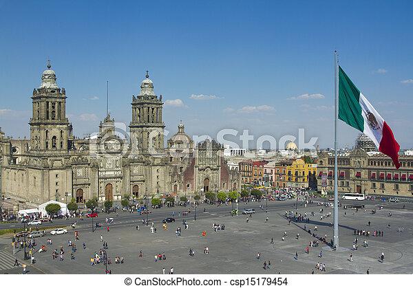 ciudad, zocalo, méxico - csp15179454