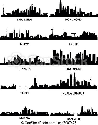 Ciudades asiáticas en los horizontes - csp7007475