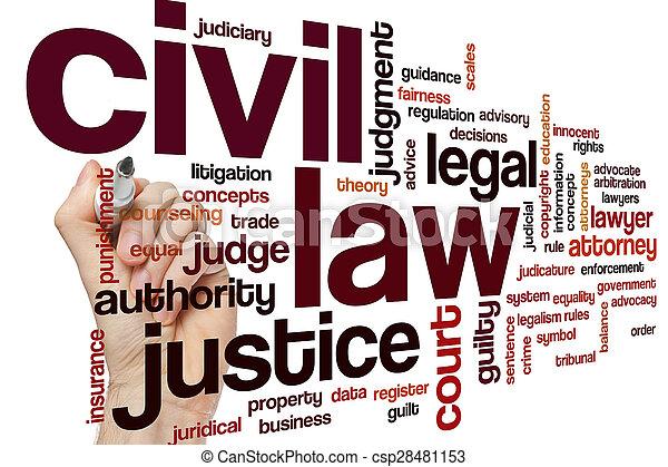 Nube de palabra de la ley civil - csp28481153