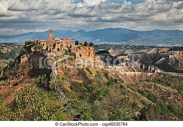 Civita di Bagnoregio, Viterbo, Lazio, Italy: landscape at twilight - csp46535784