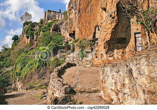 Civita di Bagnoregio, Viterbo, Lazio, Italy: the rock face of the tuff hill - csp42289528