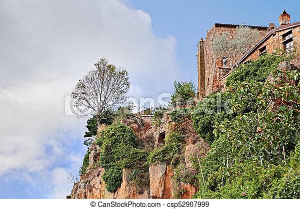 Civita di Bagnoregio, Viterbo, Lazio, Italy: the rock face of the tuff hill with a tree on the precipice - csp52907999