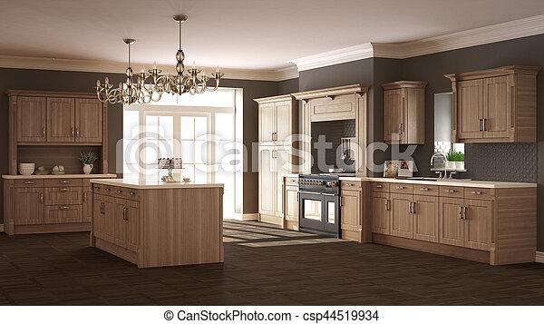 Clásico, de madera, cocina, elegante, diseño, detalles,... fotos de ...