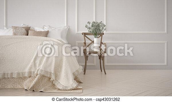 Alcoba clásica mínima, diseño de interiores blancos - csp43031262