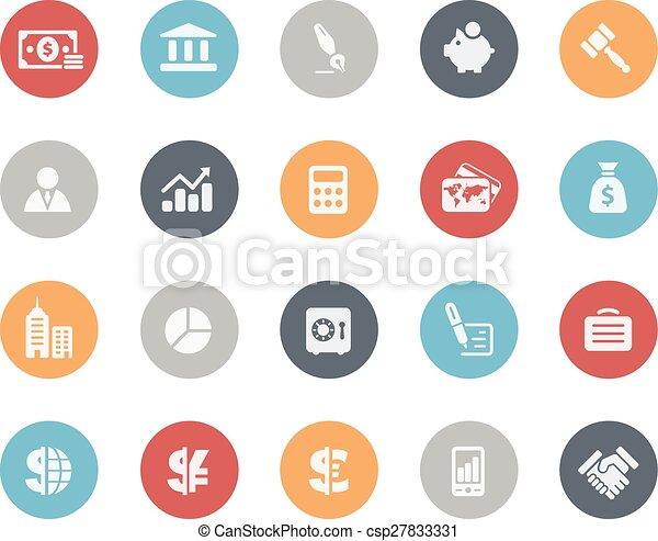 Negocios y iconos financieros clásicos - csp27833331