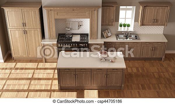 Clásico, tapa de madera, cocina, elegante, detalles, diseño ...