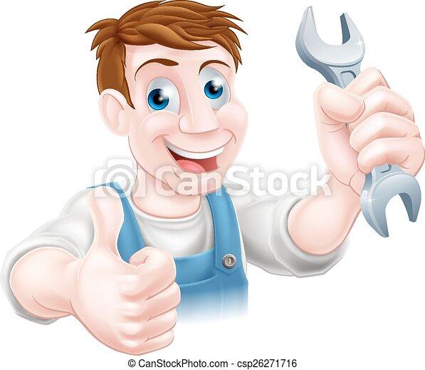 clé, pouces, mécanicien, haut - csp26271716