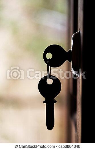 clés, silhouette, ouverture porte, pendre - csp8884848
