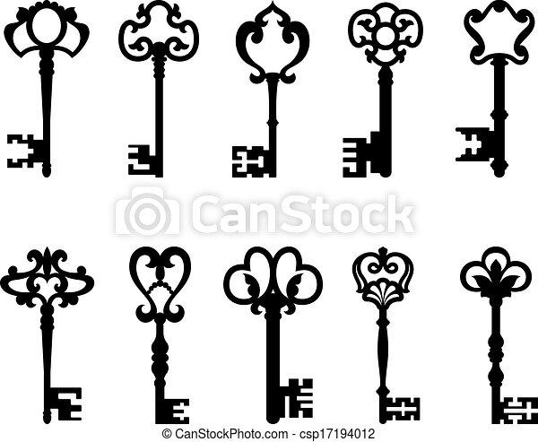 clés, vendange, ensemble, noir - csp17194012
