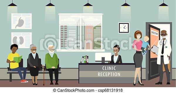 Recepción clínica, médico y anciana pacientes, recepcionista afroamericana - csp68131918