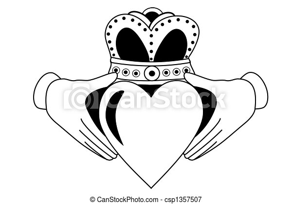 claddagh tribal tattoo black and white stock illustrations search rh canstockphoto com claddagh symbol clip art Claddagh Stencil