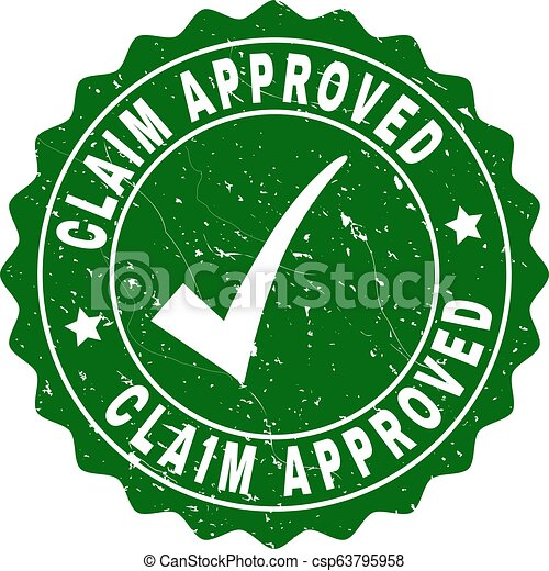 Claim Approved Grunge Stamp with Tick - csp63795958
