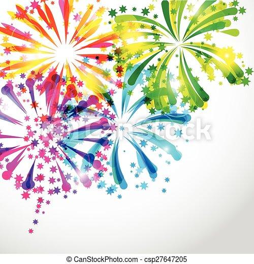 clair, feux artifice, fond, coloré, salut - csp27647205