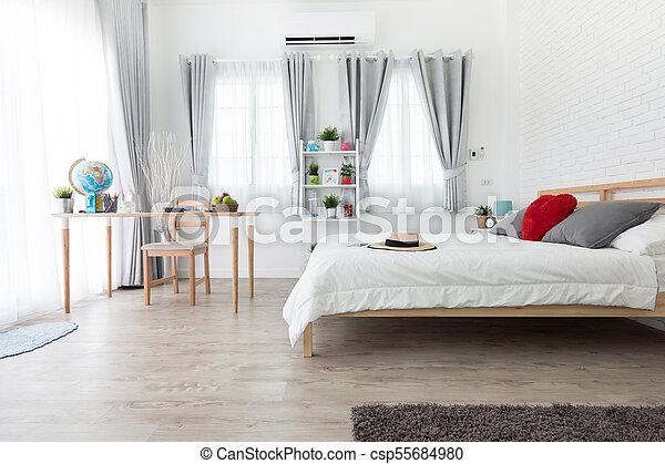 clair, king-size, lit, chambre à coucher