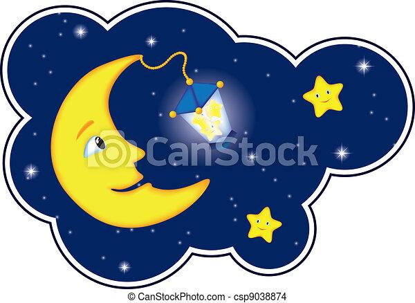 clair lune, cadre, nuage, nuit - csp9038874