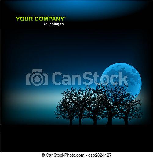 clair lune, vecteur, fond, illustration, gabarit - csp2824427