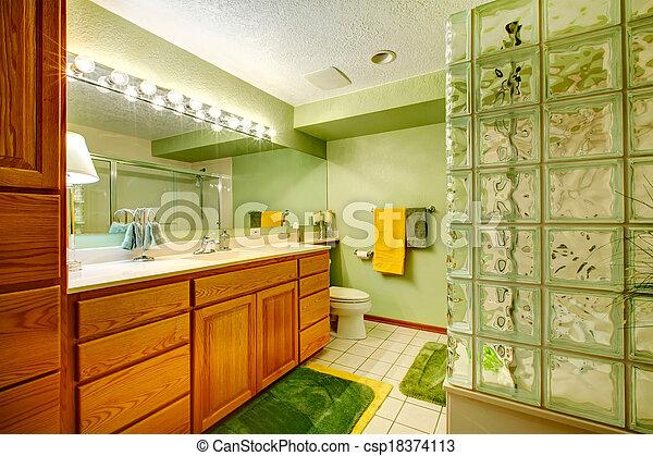 Clair, vert, salle bains. Rug., brun, salle bains, cabinets, salle ...