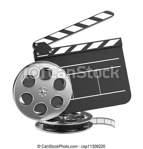 clapboard and film reel with film clapboard and film reel setting