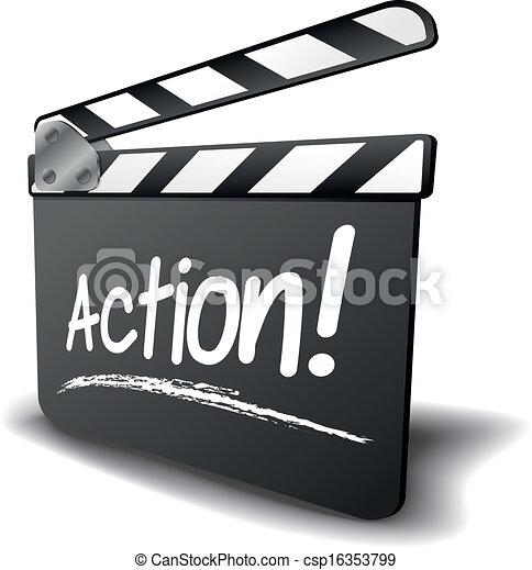 clapper board action - csp16353799
