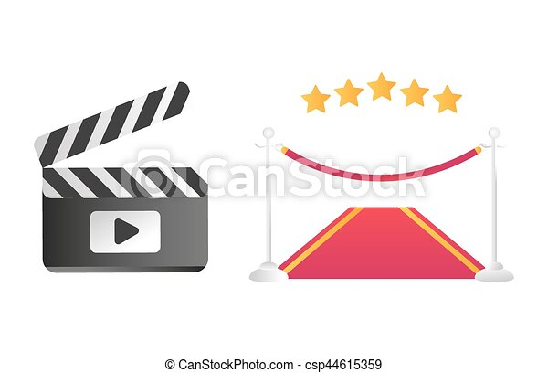 clapper board and red road vector illustration clapper board red