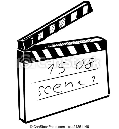 Clapperboard isolated on white - csp24351146