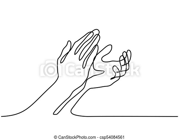 continuous line drawing clapping hands with applause vector