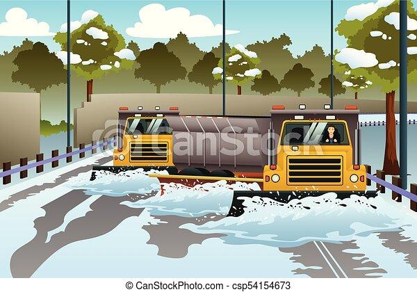 Camionetas de nieve despejando el camino de la nieve - csp54154673