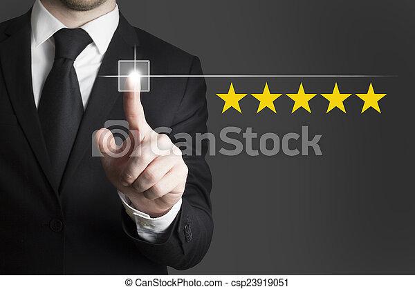 clasificación, botón de estrella, empujar, cinco, hombre de negocios - csp23919051