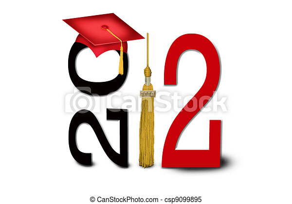 class of 2012 gold tassel and red graduation cap for class of 2012 rh canstockphoto com