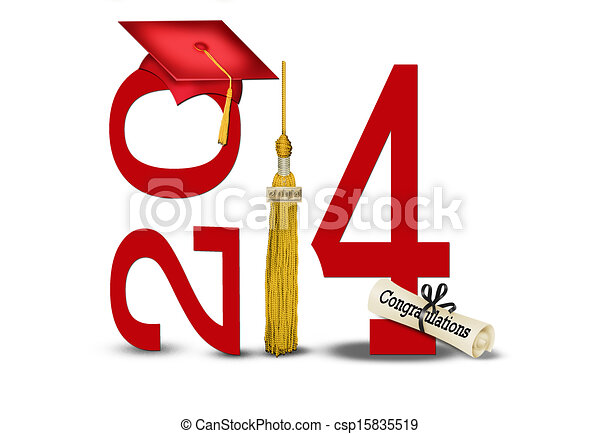 class of 2014 with gold tassel - csp15835519