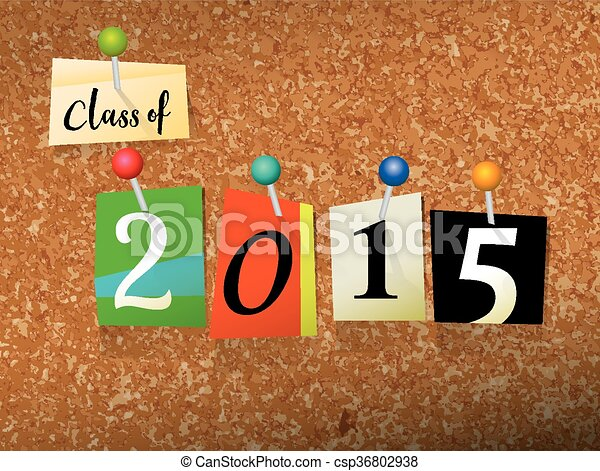 Class of 2015 Pinned Paper Concept Illustration - csp36802938