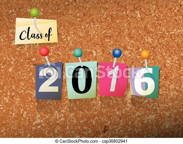 Class of 2016 Pinned Paper Concept Illustration - csp36802941