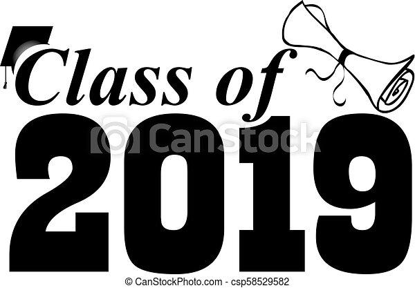 Class of 2019 with Graduation Cap - csp58529582