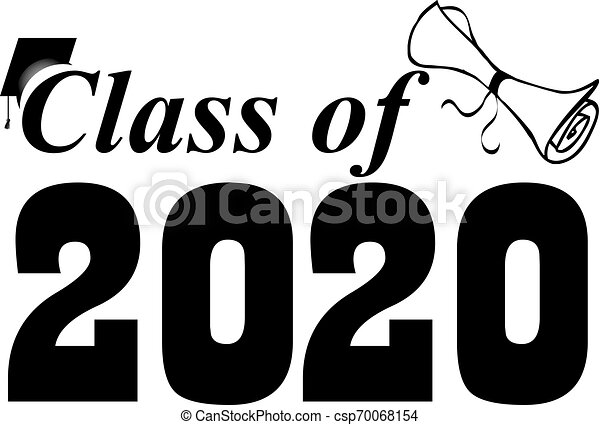 Graduation Clip Art 2020.Class Of 2020 Banner With Cap And Diploma