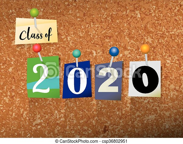 Class of 2020 Pinned Paper Concept Illustration - csp36802951
