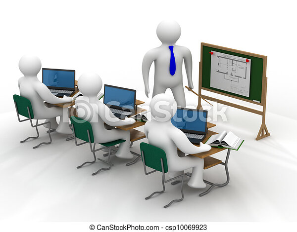 class., school, beeld, vrijstaand, les, 3d - csp10069923