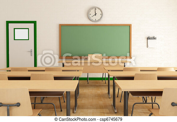 class without students classroom without student with wooden furniture and green blackboard on. Black Bedroom Furniture Sets. Home Design Ideas