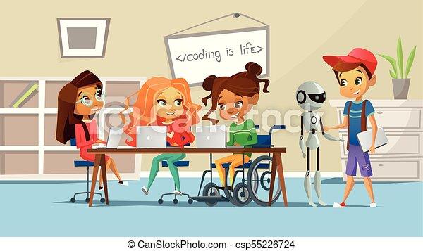 Classe école étudier Fauteuil Roulant Filles Illustration Handicapé Garçons Vecteur Table Girl Enfants