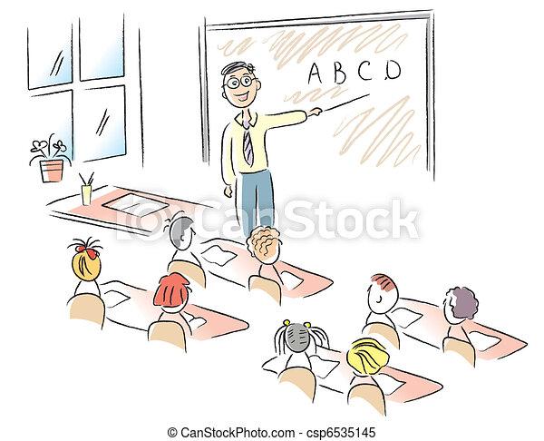 classe, école, vecteur, enfants, prof - csp6535145