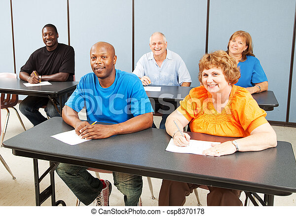 classe, feliz, adulto, diverso, educação - csp8370178
