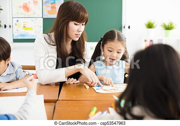 classe, heureux, dessin, enfants, prof - csp53547963