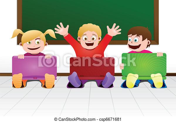 classe, ordinateur portable, enfants - csp6671681