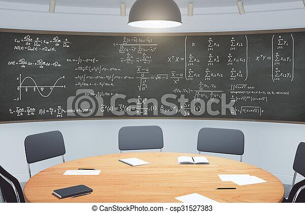 classe, tableau noir, moderne, équations, meubles - csp31527383