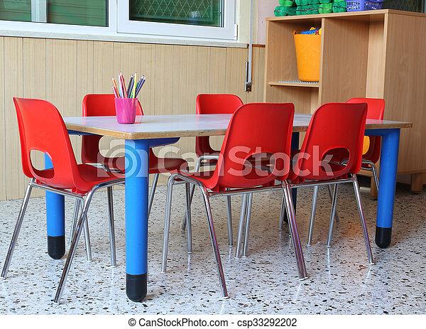 Classe Tables école Chaises Jardin Enfants Petit Rouges