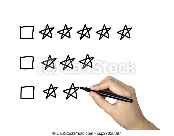 classement, étoile, main, cinq, humain, dessiné - csp27028897