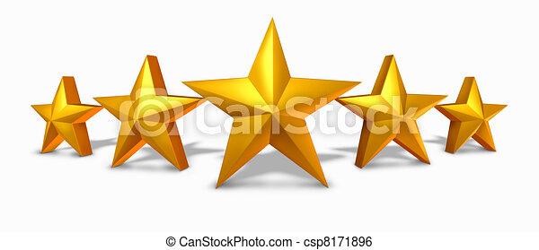 classement, étoile, or, doré, cinq, étoiles - csp8171896